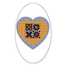 Quilt Heart Oval Decal