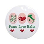 Peace Love Italia Italy Ornament (Round)