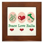 Peace Love Italia Italy Framed Tile