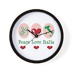 Peace Love Italia Italy Wall Clock