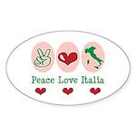 Peace Love Italia Italy Oval Sticker (10 pk)
