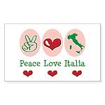 Peace Love Italia Italy Rectangle Sticker 10 pk)