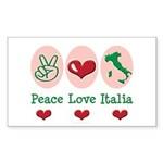 Peace Love Italia Italy Rectangle Sticker