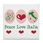 Peace Love Italia Italy Tile Coaster