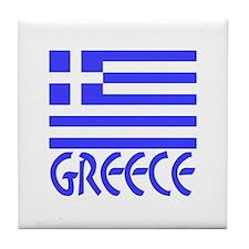 Greek Flag & Word 4 Tile Coaster
