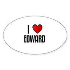 I LOVE EDWARD Oval Decal