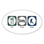 Eat Sleep Ninja Oval Sticker (10 pk)
