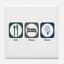 Eat Sleep News Tile Coaster