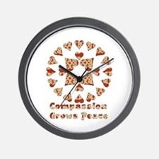 Compassion Grows Peace Wall Clock