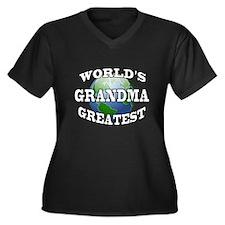 WORLD'S GREATEST GRANDMA Women's Plus Size V-Neck
