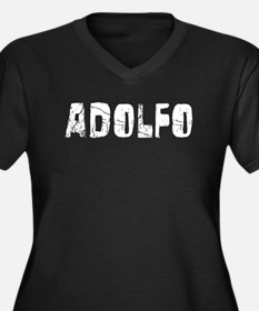 Adolfo Faded (Silver) Women's Plus Size V-Neck Dar