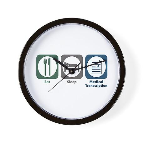 Eat Sleep Medical Transcription Wall Clock