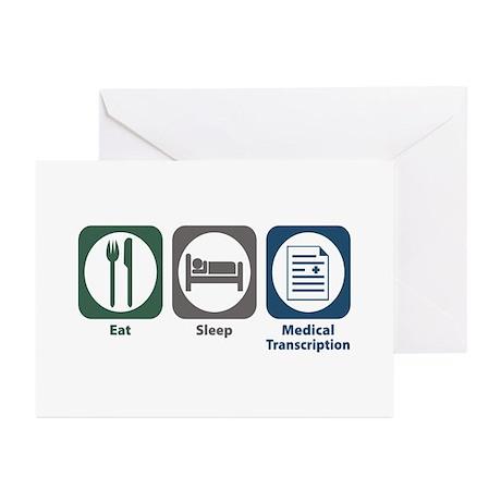 Eat Sleep Medical Transcription Greeting Cards (Pk