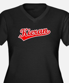 Retro Kieran (Red) Women's Plus Size V-Neck Dark T