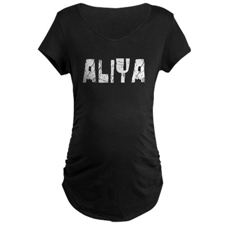 Aliya Faded (Silver) Maternity Dark T-Shirt