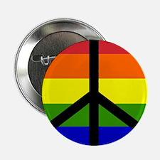 Peace Sign - Gay Rainbow Button