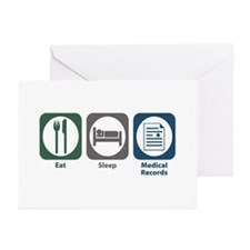 Eat Sleep Medical Records Greeting Cards (Pk of 20