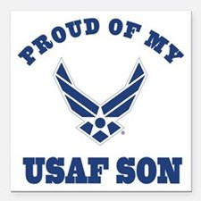 "Air Force Son Proud Mom Dad Square Car Magnet 3"" x"