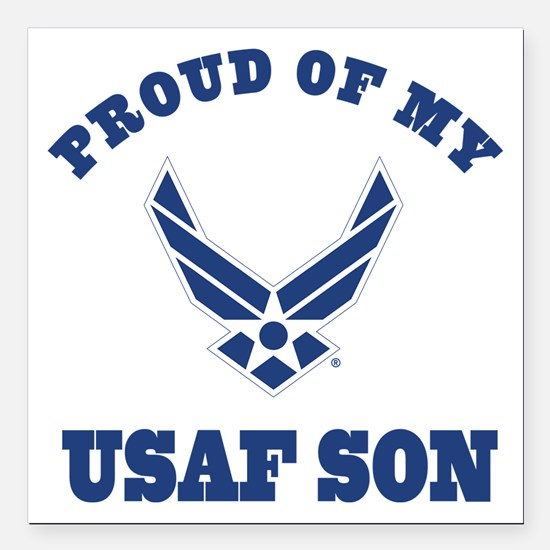 """Air Force Son Proud Mom Dad Square Car Magnet 3"""" x"""
