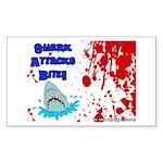 Shark Attacks Bite! Survivor? Sticker (Rectangular