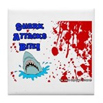 Shark Attacks Bite! Survivor? Tile Coaster