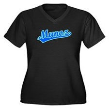 Retro Munoz (Blue) Women's Plus Size V-Neck Dark T
