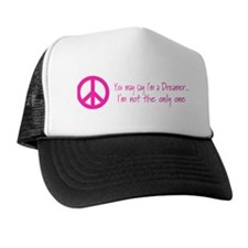 You May Say I'm a Dreamer Pink Peace Sign Trucker Hat
