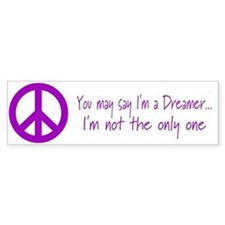 Imagine Peace Sign Bumper Bumper Sticker