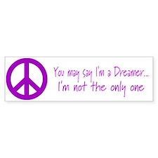 Imagine Peace Sign Bumper Car Sticker