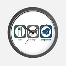 Eat Sleep Linguistics Wall Clock