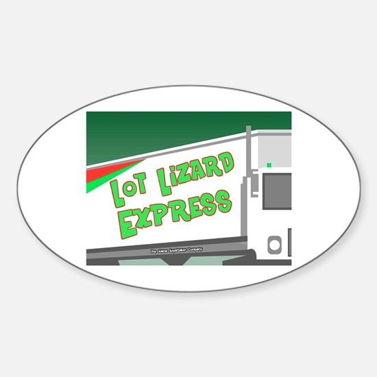Lot Lizard Trucking Express Oval Bumper Stickers
