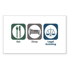 Eat Sleep Legal Assisting Rectangle Sticker 50 pk