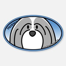 Anime Gray Havanese Oval Decal