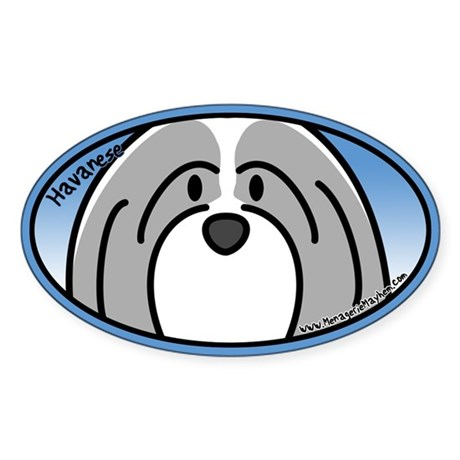 Anime Gray Havanese Oval Sticker