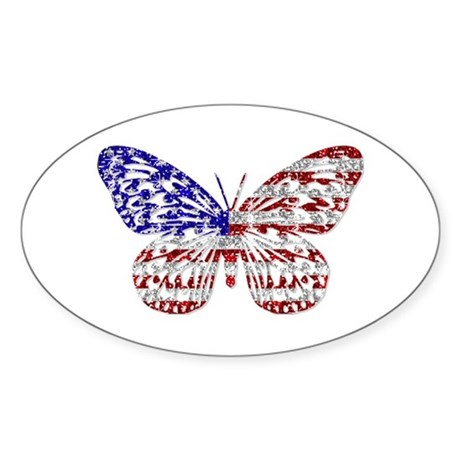 American Butterfly Oval Sticker