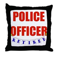 Retired Police Officer Throw Pillow