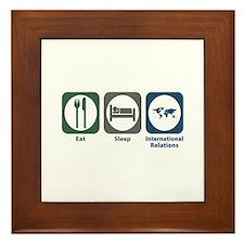 Eat Sleep International Relations Framed Tile