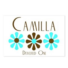 Camilla - Blue/Brown Flowers Postcards (Package of