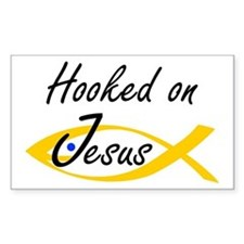 Hooked on Jesus Rectangle Decal