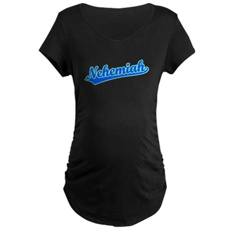 Retro Nehemiah (Blue) Maternity Dark T-Shirt
