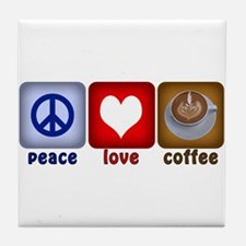 Peace Love and Coffee Tiles Tile Coaster