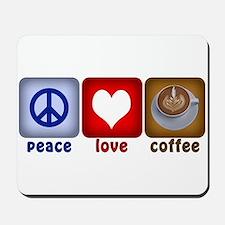 Peace Love and Coffee Tiles Mousepad