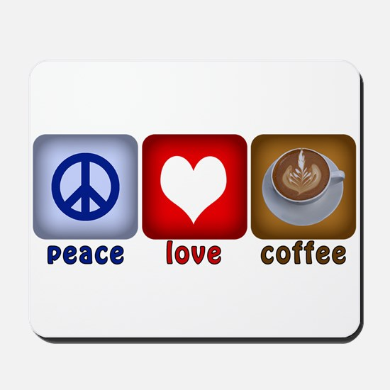 Peace Love and Coffee Tiles Mousepad