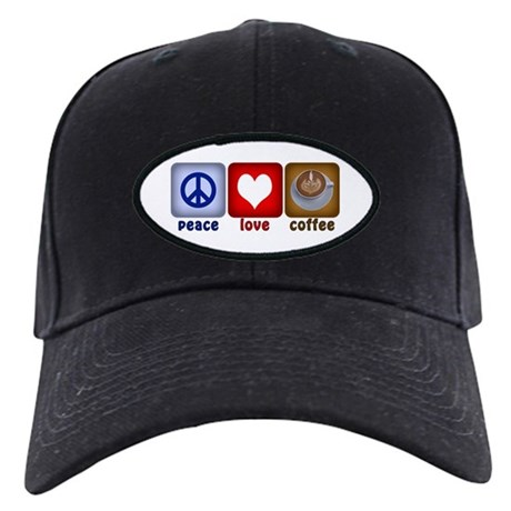 Peace Love and Coffee Tiles Black Cap
