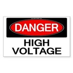 Danger! High Voltage Rectangle Sticker 10 pk)