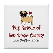 Pug Rescue of San Diego Count Tile Coaster