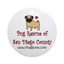 Pug Rescue of San Diego Count Ornament (Round)