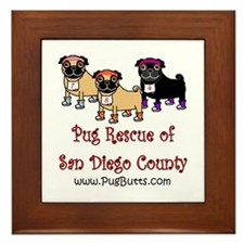 Pug Rescue of San Diego Count Framed Tile