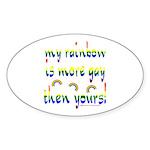 More gay rainbow Oval Sticker (10 pk)
