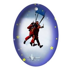Skydiving Christmas Oval Ornament